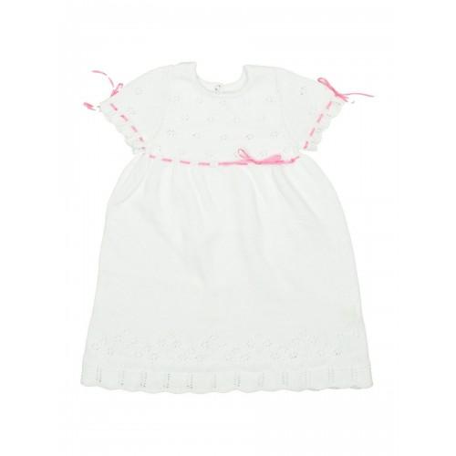 Платье ажурное белое с розовым