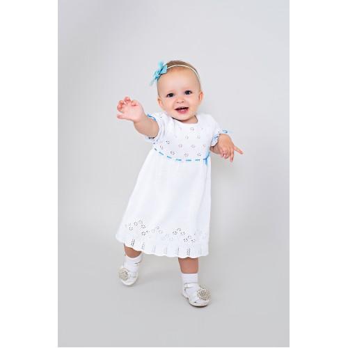 Платье ажурное белое с голубым